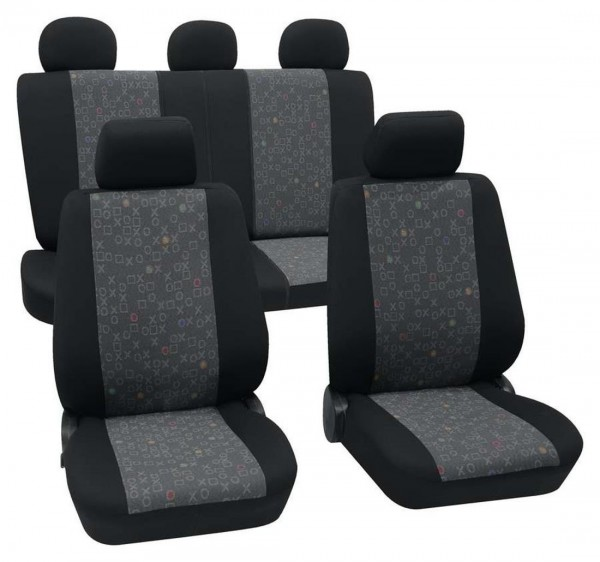 Autositzbezug Schonbezug, Komplett Set, Rover 214, Schwarz, Graphit