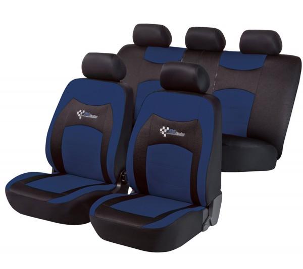 Autositzbezug Schonbezug, Komplett Set, Opel Kadett, Schwarz, Blau