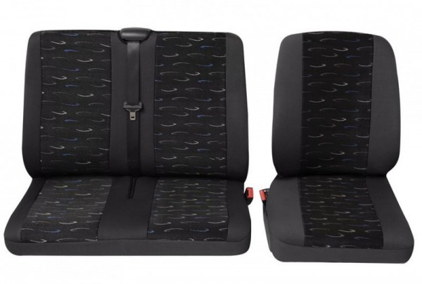 Transporter Autositzbezug, Schonbezug, 1 x Einzelsitz 1 x Doppelsitz, Citroen Jumpy, Farbe: Grau/Bl