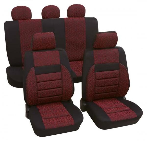 Autositzbezug Schonbezug, Komplett Set, Peugeot 106, Schwarz, Rot