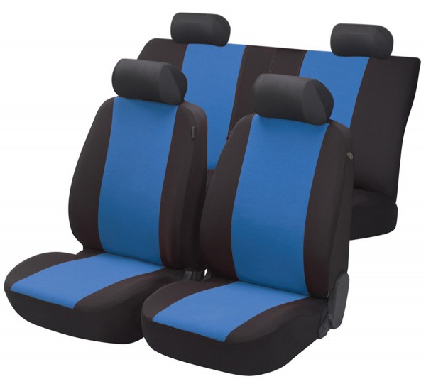 Autositzbezug Schonbezug, Komplett Set, Opel Zafira (Zafira-C), Schwarz, Blau