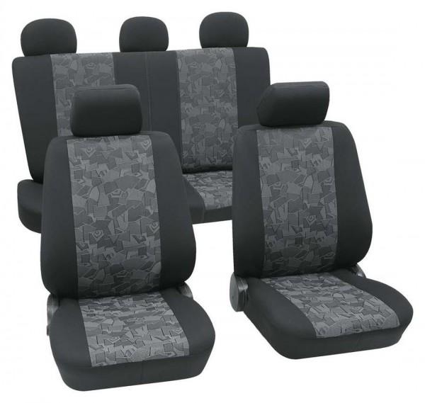 Autositzbezug Schonbezug, Komplett Set, Toyota Verso, Schwarz, Grau