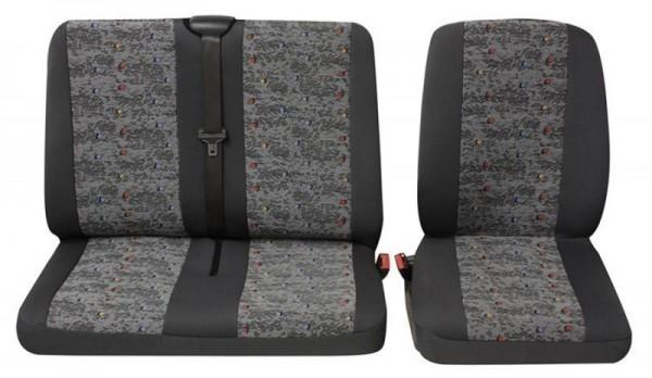Transporter Autositzbezug, Schonbezug, 1 x Einzelsitz 1 x Doppelsitz, Peugeot Expert, Farbe: Grau