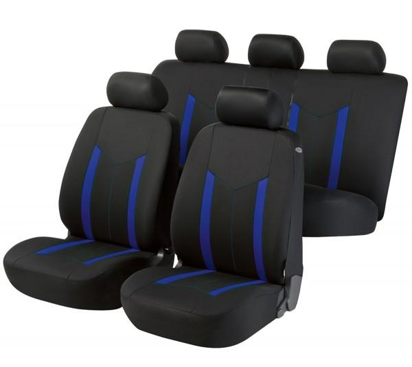 Autositzbezug Schonbezug, Komplett Set, Fiat Qubo, Schwarz, Blau