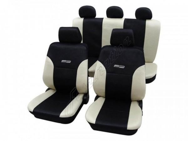 Autositzbezug Schonbezug Lederlook-Optik, Komplett-Set, Alfa Romeo 164, Creme Beige Schwarz