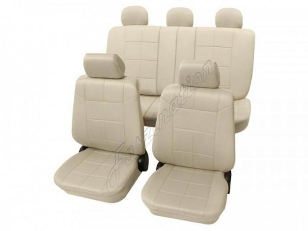 Autositzbezug Schonbezug Lederlook-Optik, Komplett-Set, Alfa Romeo 155, Beige Creme