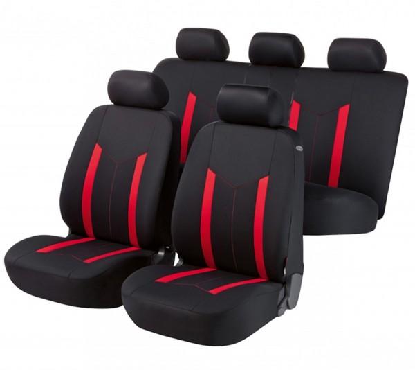 Autositzbezug Schonbezug, Komplett Set, Opel Zafira (Zafira-C), Schwarz, Rot