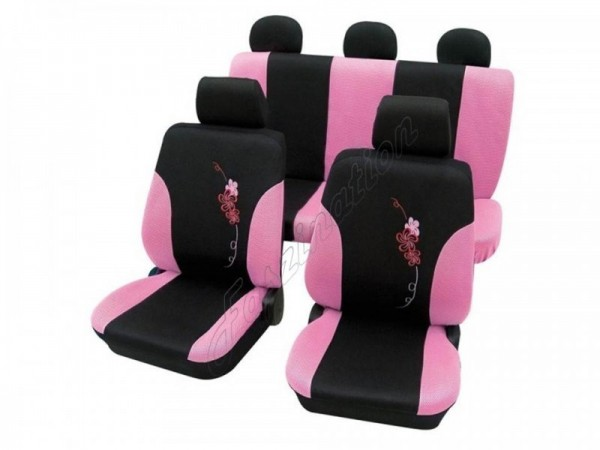 Autositzbezug Schonbezug, Komplett-Set, Alfa Romeo 75, Schwarz Pink