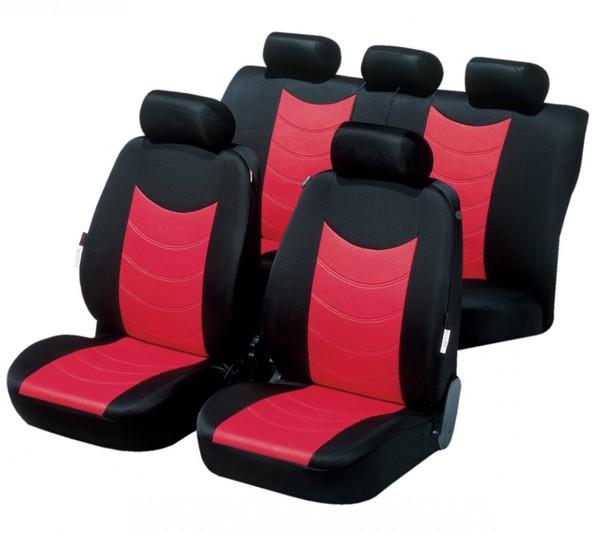 Autositzbezug Schonbezug, Komplett Set, Opel Kadett, Rot, Schwarz