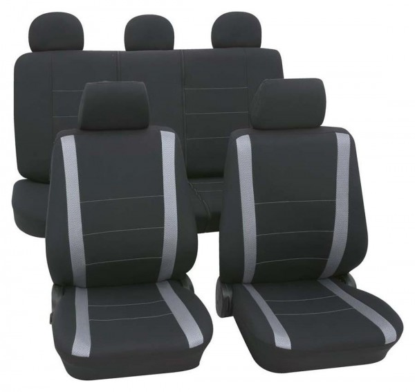 Autositzbezug Schonbezug, Komplett Set, Peugeot 106, Schwarz, Grau