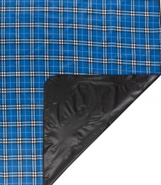 Picknickdecke, flauschig weich, wasserabweisend, 150 x 130 cm, blau kariert