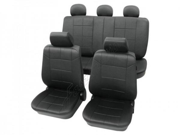 Autositzbezug Schonbezug Lederlook-Optik, Komplett-Set, Alfa Romeo 155, Schwarz Anthrazit