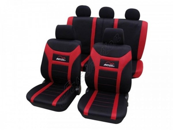 Autositzbezug Schonbezug, Komplett-Set, Alfa Romeo 33, Schwarz Rot