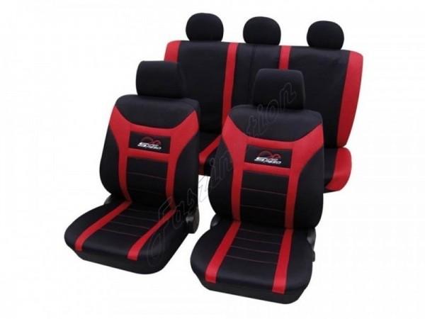 Autositzbezug Schonbezug, Komplett-Set, Alfa Romeo 75, Schwarz Rot