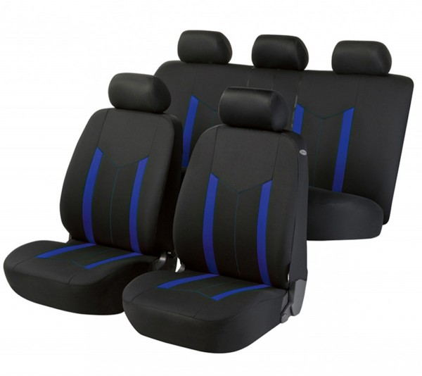 Autositzbezug Schonbezug, Komplett Set, Opel Astra-G-CC, Schwarz, Blau
