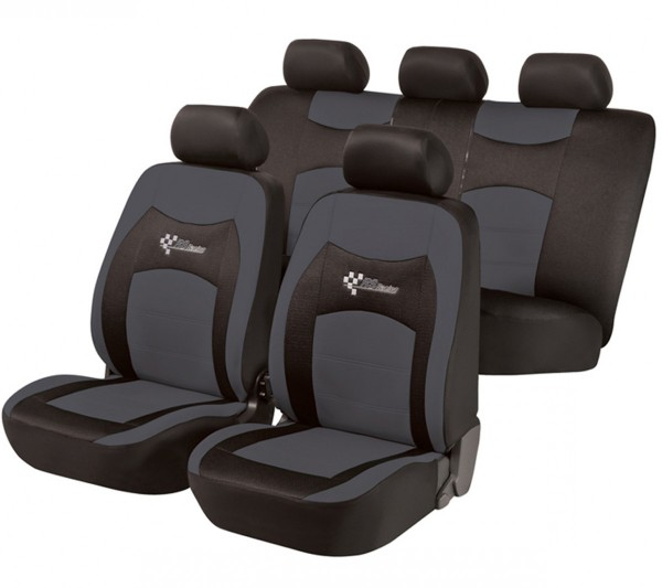 Autositzbezug Schonbezug, Komplett Set, Fiat Qubo, Schwarz, Grau