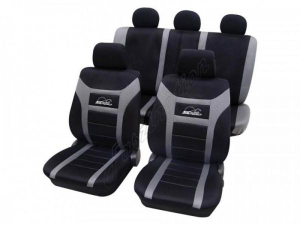 Autositzbezug Schonbezug, Komplett-Set, Peugeot 205, Schwarz Grau
