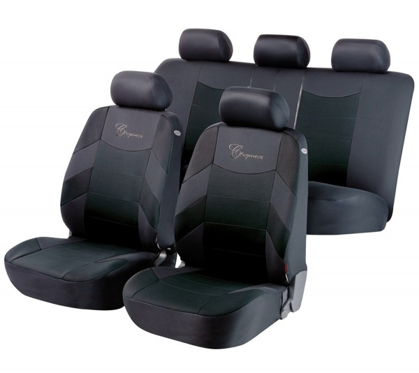 Autositzbezug Schonbezug, Komplett Set, Opel Astra-G-CC, Schwarz, Grau