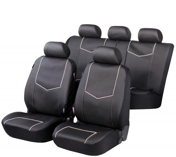 Autositzbezug Schonbezug, Kunstleder, Komplett Set, Ford Fiesta, Schwarz