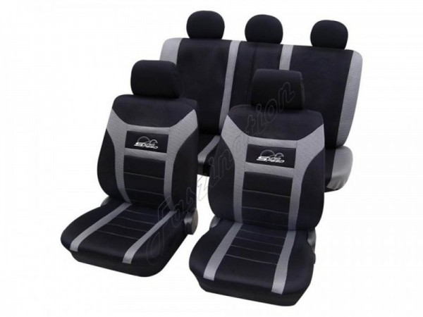 Autositzbezug Schonbezug, Komplett-Set, Alfa Romeo 75, Schwarz Grau