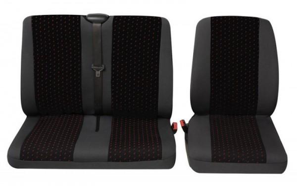 Transporter Autositzbezug, Schonbezug, 1 x Einzelsitz 1 x Doppelsitz, Citroen Jumpy, Farbe: Grau/Ro