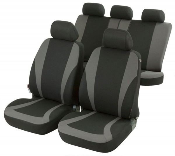 Autositzbezug Schonbezug, Komplett Set, Suzuki Splash, Schwarz, Grau