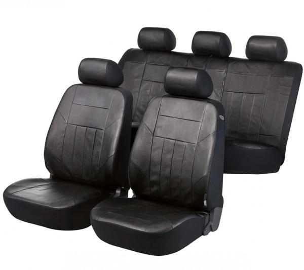 Autositzbezug Schonbezug, Kunstleder Nappa, Komplett Set, Peugeot 106, Schwarz