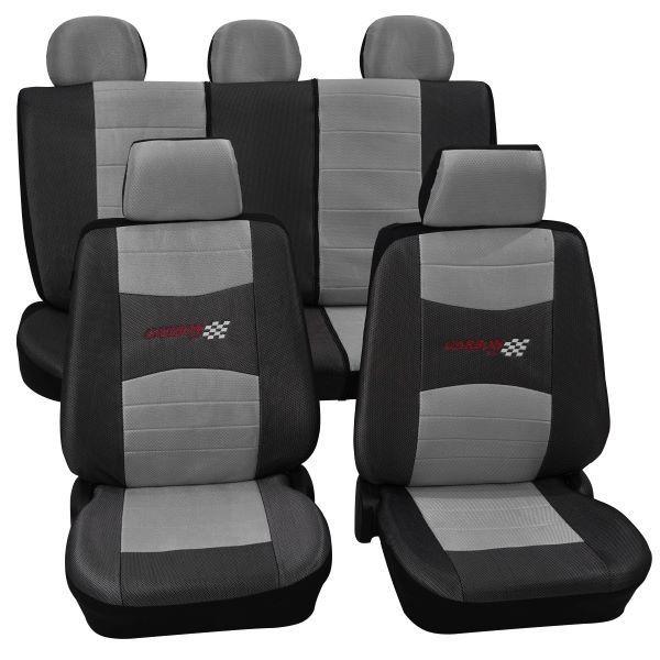 Autositzbezug Schonbezug, Komplett-Set, Peugeot 309, Schwarz Silber