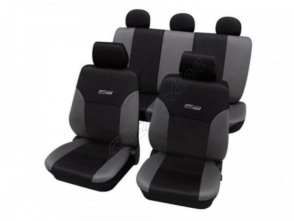 Autositzbezug Schonbezug Lederlook-Optik, Komplett-Set, Peugeot 205, Grau Schwarz Anthrazit