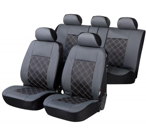 Autositzbezug Schonbezug, Kunstleder, Komplett Set, Opel Zafira (Zafira-C), Schwarz, Grau