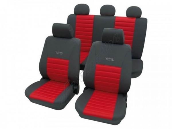 Autositzbezug Schonbezug, Komplett-Set, Peugeot 207, Rot Blau Anthrazit