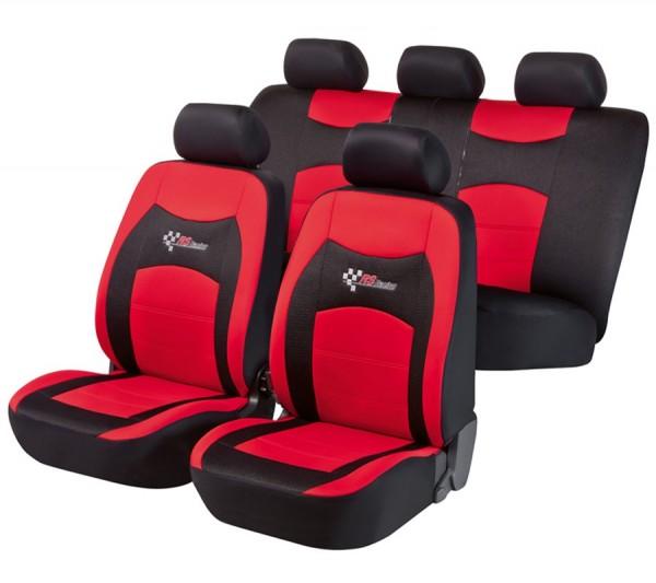 Autositzbezug Schonbezug, Komplett Set, Fiat Panda, Schwarz, Rot