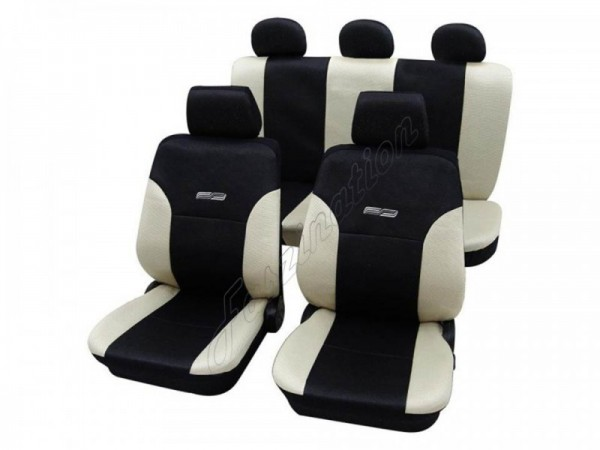 Autositzbezug Schonbezug Lederlook-Optik, Komplett-Set, Alfa Romeo 156, Creme Beige Schwarz