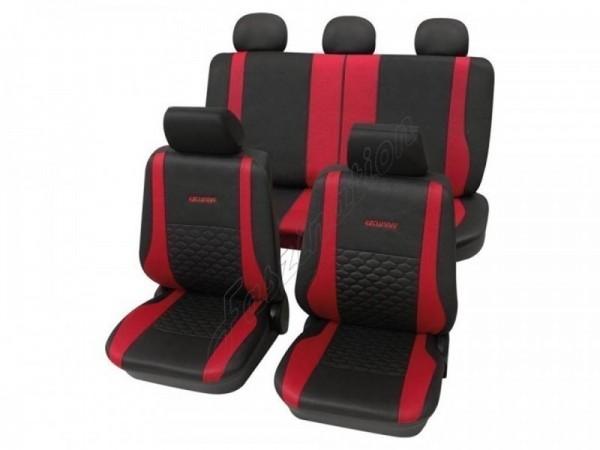 Sitzbezug Schonbezug Exclusiv Lederlook-Optik, Komplett-Set, Toyota Starlet, Anthrazit Schwarz Rot