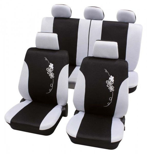 Autositzbezug Schonbezug, Komplett Set, Toyota Verso, Schwarz, Weiß