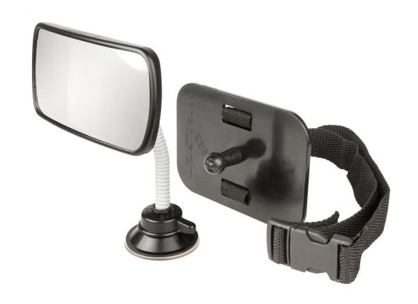 Babyspiegel für Auto, einfache Montage, 125 x 60 mm, schwarz