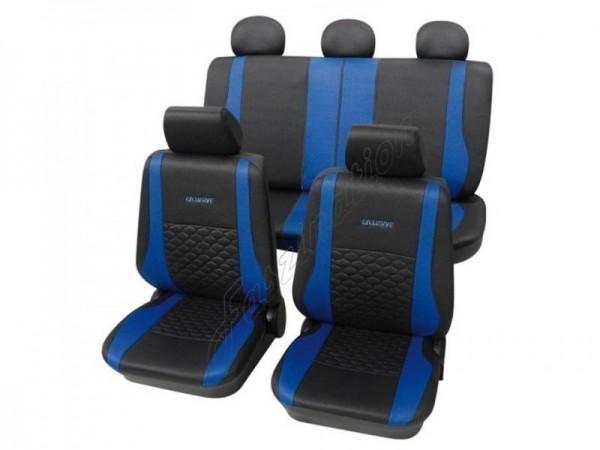 Autositzbezug Schonbezug Exclusiv Lederlook-Optik, Komplett-Set, VW Käfer ,Anthrazit Schwarz Blau